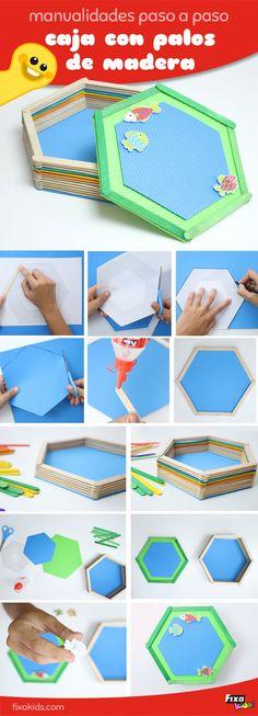 Manualidades con palitos de  helado. Ideas con palitos de helado. Cómo hacer una cajita con palitos de madera. DIY. Manualidades para niños.