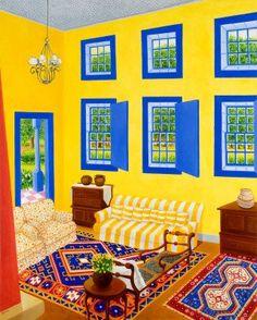 Fazenda in Minas Gerais, Brazil, by Roxa Smith. Roxa Smith's intricate paintings transform intimate interior scenes into dramatic formal arrangements of li. Open Window, Best Artist, Art For Sale, Home Art, Interior Architecture, Buy Art, Contemporary Art, Gallery, Artwork