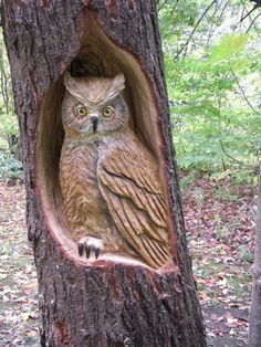 Chainsaw Wood Carvings and sculptures by Jim Menken, Canadian Chainsaw Carver and Artist, carving owls, etc. in Orangeville, Toronto, Mississauga and around Ontario