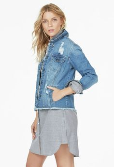 f6784ba37b6 Destroyed Denim Jacket Clothing in Blue Heaven - Get great deals at JustFab