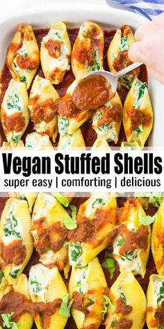 These vegan stuffed shells with spinach make such a delicious dinner! They're filled with spinach and vegan ricotta made of cauliflower and tofu. Nobody will believe that these stuffed shells are vegan! Find more vegan dinner ideas at Vegan Dinner Recipes, Delicious Vegan Recipes, Whole Food Recipes, Cooking Recipes, Healthy Recipes, Vegan Recipes Italian, Tofu Recipes, Vegan Recepies, Easy Vegan Dinner