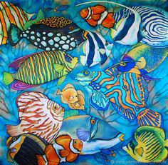 Картина на шелке Коралловые рыбки. Нежность и роскошь атласа дополненная росписью. Сказочно красивой и манящей в теплые моря и океаны.