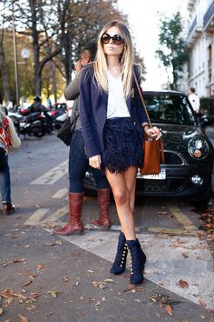 Navy all over. feathered skirt + blazer