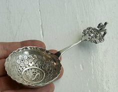 Antique Dutch Silver Tea Strainer Sugar Sifter Spoon Swan Squirrel Holland