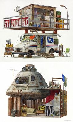 Watercolor Paintings of Imagined Trash Structures Packed With Advertising by Alvaro Naddeo Fantasy Landscape, Fantasy Art, Apocalypse Art, Zombie Apocalypse House, Zombie Apocalypse Survival, Look Wallpaper, Post Apocalyptic Art, Arte Cyberpunk, Environment Design
