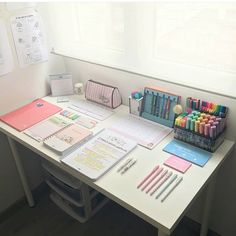 🤓📖 study our success ✏📄 on We Heart It Study Room Decor, Cute Room Decor, Bedroom Decor, Study Rooms, Bedroom Sets, Study Desk Organization, Stationary Organization, Study Corner, Desk Inspiration