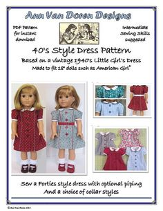 Forties Style Doll Dress Pattern for 18 by AnnVanDorenDesigns