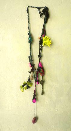 """sautoir """"textiles"""" anne claustre"""