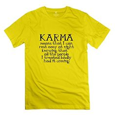 KST Buddhism Karma Quote 100 Cotton TShirt Awesome For Men Yellow Large ** Want to know more, click on the image.