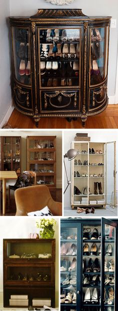 i love the idea of using glass door-ed cabinets to store/display shoes