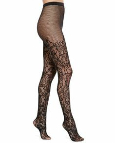 Are those legs looking a litlte winter worn? No worries. Nahla Floral Tights, Black by Wolford at Neiman Marcus. Thigh High Leggings, Tight Leggings, Black Lingerie, Women Lingerie, Nylons, Style And Grace, My Style, Floral Tights, Designer Lingerie