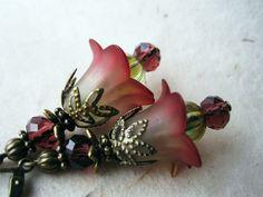 Lucite Flower Earrings. Oxblood Jewelry. Woodland Faerie Earrings. Sage Green Wine Earrings. Amethyst and Peridot Earrimgs. FDE7. $18.00, via Etsy.