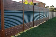 "Image result for ""colorbond and timber"" fence"