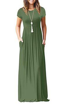 e66525002103 AUSELILY Women Short Sleeve Loose Plain Casual Long Maxi Dresses with  Pockets Best Maxi Dresses