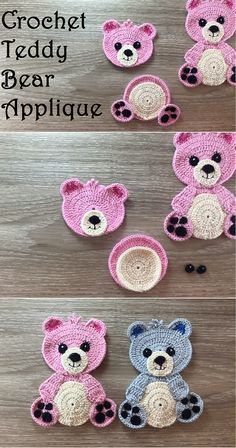 Crochet mural ours en peluche - Crafting Time Crochet Teddy Bear Applique Crochet mural ours en peluche Crochet Applique Patterns Free, Crochet Animal Patterns, Crochet Motif, Crochet Animals, Diy Crochet, Crochet Crafts, Crochet Projects, Crochet Edgings, Simple Crochet