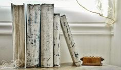 White Painted Books with Chalk Paint White Antique Upcycled Books brass perpetual calendar