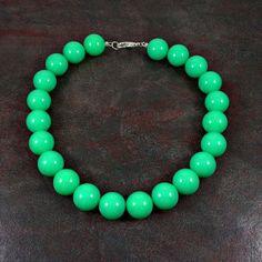 Statement Necklace Mint Blue Bead Necklace Big Bead by Pilboxx