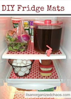 Use fridge mats to contain all the nasty spills and messes that can happen on fridge shelves, and keep everything neat, organised and colourful!