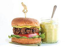 Black bean burgers with matcha green tea aioli. A healthy vegetarian recipe from Women's Health & Fitness