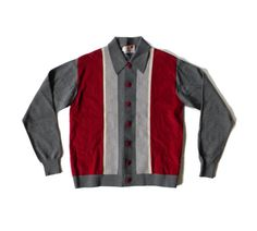 Vintage Mens Buttoned Collared Shirt Sweater Rockabilly Rat Pack 50s 60s Mens Gray and Maroon Knit Sweater Cardigan