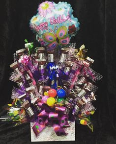 Candy Bouquet, custom made with sugar free Hershey miniatures 🍭