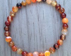 AMBER CORAL for HEALING 6mm Round Minimalist Bracelet by JustoLane