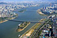 Han River seen from a helicopter Seoul South Korea [25601707]