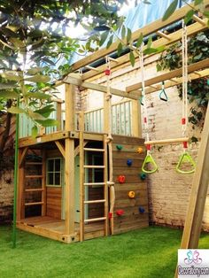 Backyard Dog Play Area Ideas 20 Cool Outdoor Kids Play Areas For Summer Childrens Backyard Play Area Ideas Small Backyard Play Area Ideas Backyard Playhouse, Build A Playhouse, Backyard Playground, Backyard For Kids, Backyard Projects, Outdoor Projects, Playhouse Ideas, Playground Ideas, Playground Design