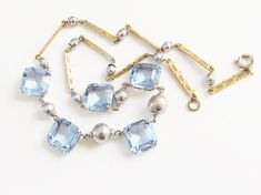 Art Deco Blue Faceted Crystal Silver Beaded Necklace 1920s