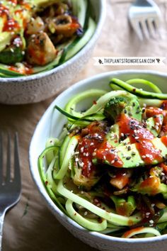 Korean BBQ Zoodle Stir-fry Bowl ~ Zucchini, Brussels sprouts, broccoli, cabbage, mushrooms, and avocado coming with Korean BBQ sauce in a deliciously nutritious vegetarian meal!