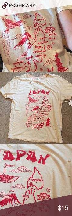 Japan Forever 21 Graphic Vintage Tee (NWT) Super soft vintage graphic tee from forever 21! New with tags, in non smoking home. Loose/boyfriend fit, very light peachy/tan color with red graphic. The holes in the shirt are intentional. Bought this on a whim