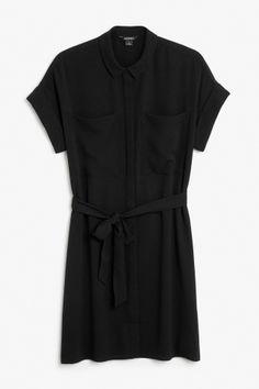 Monki Image 2 of Tunic shirt dress  in Black