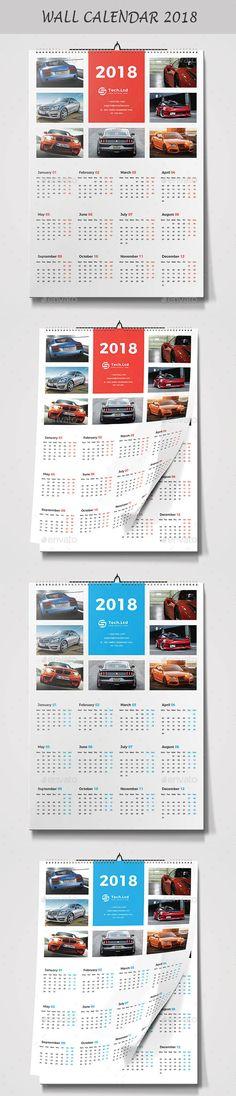 Wall Calendar 2018 Template Vector EPS, AI Illustrator