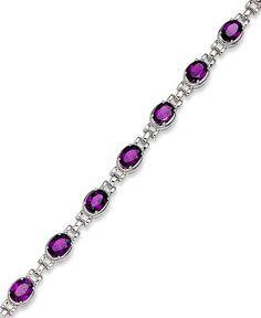 Sterling Silver Bracelet, Amethyst Oval Link Bracelet (11 ct. t.w.)