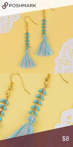 Boho fringe tassel earring teal blue New Jewelry Earrings