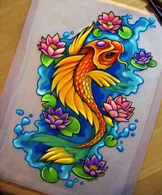 Japanese Dragon Koi Fish Tattoo Designs, Drawings and Outlines. The inspirational best red and blue koi tattoos for on your sleeve, arm or thigh. Japanese Koi Fish Tattoo, Koi Fish Drawing, Fish Drawings, Tattoo Drawings, Art Drawings, Sketch Tattoo, Colorful Drawings, Pencil Drawings, Koi Tattoo Design