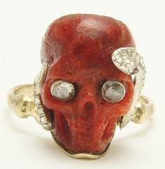 A Fabulous Georgian Memento Mori Skull Coral & Rose Diamond Snake Ring 1800's