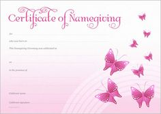 Naming Certificate - Pink Butterflies design. Purple Butterfly, Butterfly Design, Gallery Cafe, Art Gallery, Naming Ceremony, Moving Boxes, Name Day, My Sunshine, Sunshine Coast