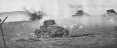 Last Italian tanks in Tunisia attacking in Kasserine - Gafsa sector under enemy fire. 20 February 1943.