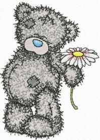 Teddy Bear with chamomile machine embroidery design. Machine embroidery design. www.embroideres.com