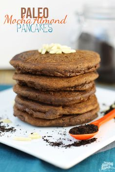 Paleo Mocha Almond Pancakes - a delicious breakfast recipe made with almond meal and freshly brewed coffee! Breakfast just got a healthy makeover.