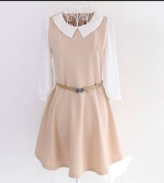 White and nude pink Peter Pan collared dress
