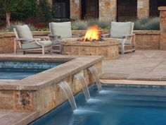 Enjoy your swimming pool right from the patio with a variety of water features. Check out these fountains, waterfalls and swim-up bars for some outdoor design ideas and inspiration. Outdoor Pool, Outdoor Spaces, Outdoor Living, Porches, Pool Water Features, Casa Patio, My Pool, Dream Pools, Swimming Pool Designs