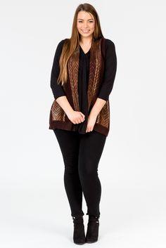 Merlot style. Wine colour fashion. Cardigan. Vest. Plum colour. Knitwear. Black jeans. Black boots, K+K women's plus size fashion sizes 10-26.