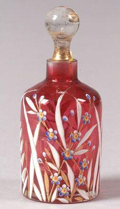Art Nouveau,  Enameled glass perfume,  Europe, late 19th century