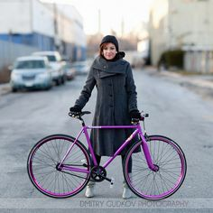 From the #BikeNYC project. I love her purple track bike! Though it wouldn't be my first choice with that long coat...