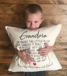 Grandma And Grandpa, Grandpa Gifts, Homemade Rugs, Pillow Quotes, Fabric Markers, Grandparent Gifts, Red Gifts, Diy Pillows, Kid Names