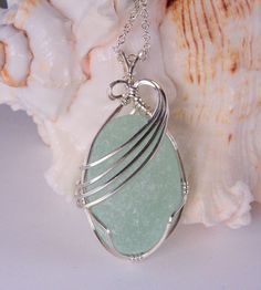 Sails UP! Large, Lovely Sea Foam Sea Glass Necklace In Sterling Silver ©2015