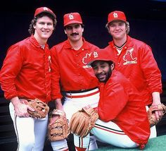 They're the Defending World Champs! (l to r): Tommy Herr, Keith Hernandez, Ozzie Smith, & Ken Oberkfell, 1983