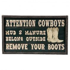 Montana Silversmiths Attention Cowboys Sign